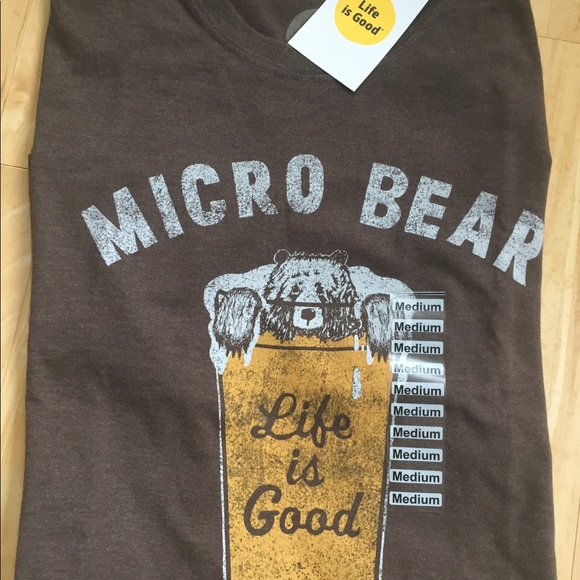 """e880fe8a750 NWT Life is Good """"micro bear"""" beer t shirt size M"""